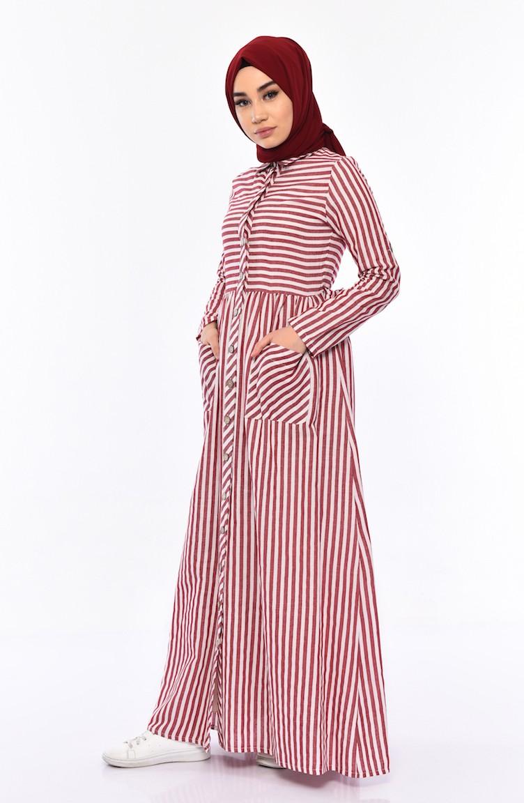 6c4cf75e3 بورون فستان بتصميم مخطط 0616-04 لون خمري 0616-04
