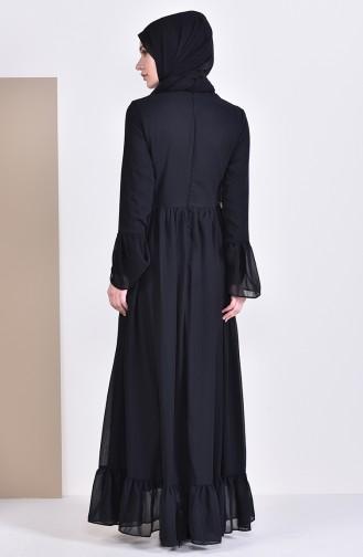 بورون فستان بتصميم طيات 81693-01 لون اسود 81693-01