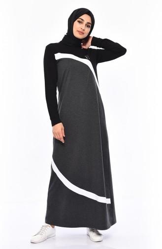فستان رياضي 9032-04 لون اسود مائل للرمادي 9032-04