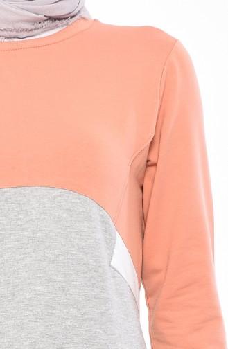 فستان رياضي بتفاصيل جيوب 9034-02 لون رمادي 9034-02