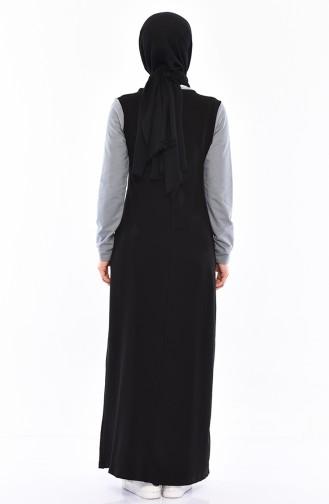 فستان رياضي بتفاصيل جيوب 9034-05 لون اسود 9034-05