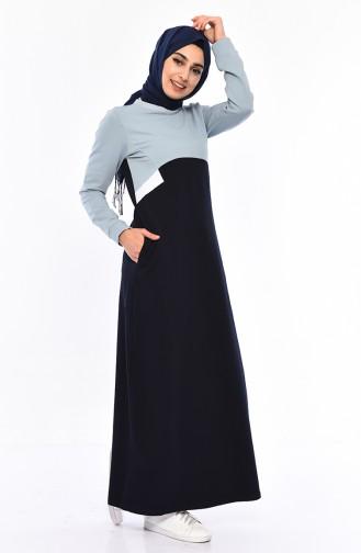 Kuplu Spor Elbise 9034-06 Lacivert Buz Mavisi