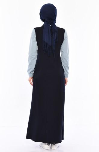 Navy Blue Hijab Dress 9034-06