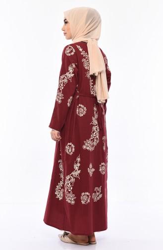 فستان قطن محاك بتصميم مُطبع 0004-02 لون خمري 0004-02