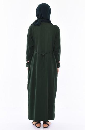 Nakışlı Şile Bezi Elbise 0300-01 Zümrüt Yeşili
