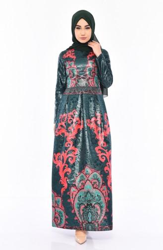 Jakarlı Elbise 7569-01 Zümrüt Yeşili