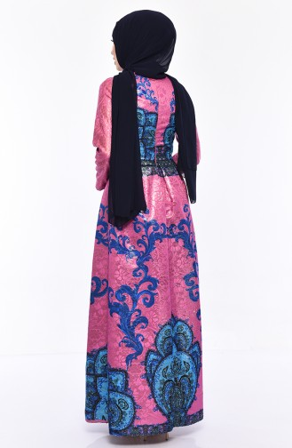 فستان بتصميم مُطبع 7569-02 لون وردي باهت 7569-02