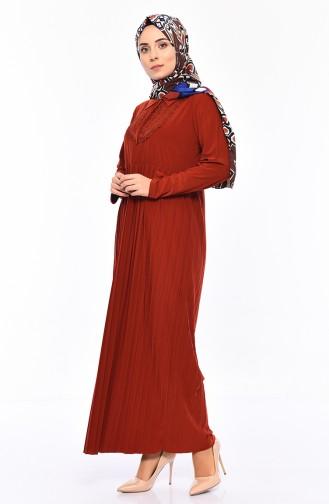 فستان بتصميم طيات مزين بالدانتيل 6189-03لون قرميدي 6189-03