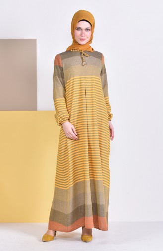 A Pile Striped Dress 4082-05 Mustard 4082-05