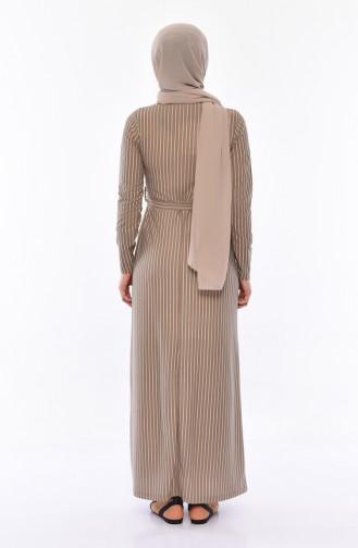 Striped Belted Dress 4161-01 Mink 4161-01
