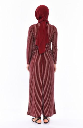 Striped Belted Dress 4161-02 Bordeaux 4161-02