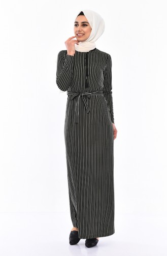 Striped Belted Dress 4162-03 dark Green 4162-03