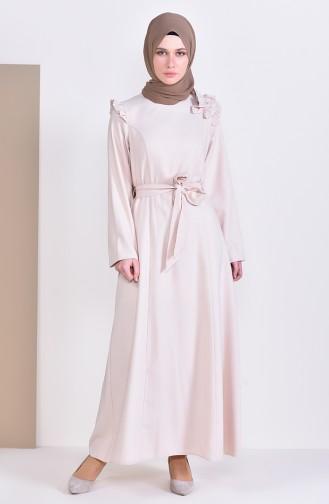 bfa600eb86ee9 Sefamerve, Stone Detailed Belted Dress 0228-03 Beige