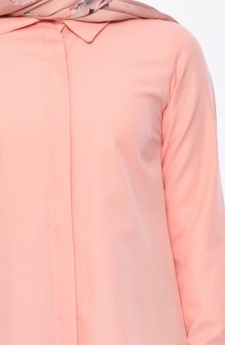 تونيك بتصميم أزرار مخفية 069412-08 لون مشمشي 069412-08