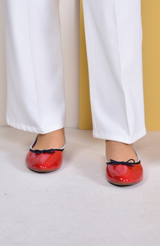 Women Flat Shoes Ballerina 7502-2 Red 7502-2