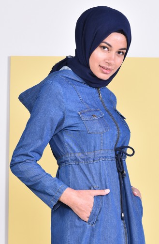 Hooded Jeans Abaya  4031-02 Navy Blue 4031-02