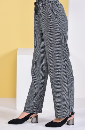 Striped Plenty Cuff Trousers 0162M-01 Black White 0162M-01