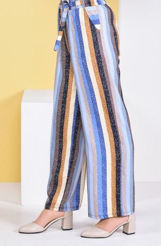 Pantalon Large a Rayures 0162R-01 Bleu 0162R-01