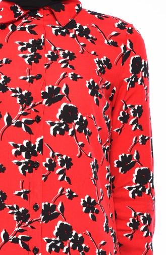تونيك فيسكوز بتصميم مُطبع 2473-02 لون أحمر 2473-02