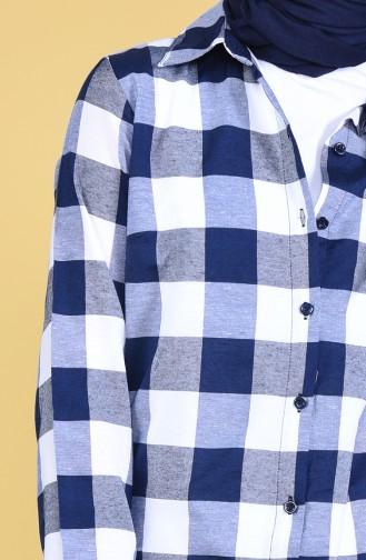 Checkered Tunic 2476-02 Navy Blue 2476-02