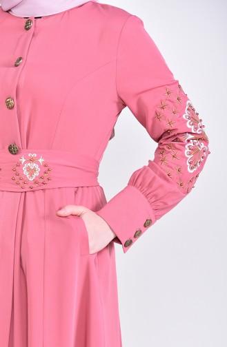 Besticktes Abaya  8980-02 Puder Rosa 8980-02