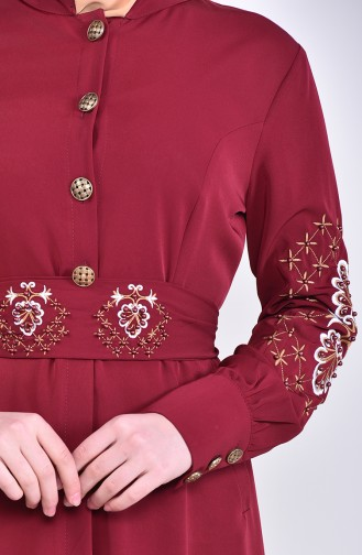Besticktes Abaya 8980-04 Weinrot 8980-04