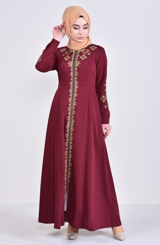 MISS VALLE  Embroidered Zippered Abaya 8981-04 Bordeaux 8981-04