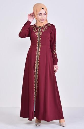 Besticktes Abaya mit Reissverschluss 8981-04 Weinrot 8981-04