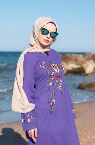 فستان قطن محاك بتفاصيل مُطرزة 0300-03 لون بنفسجي 0300-03