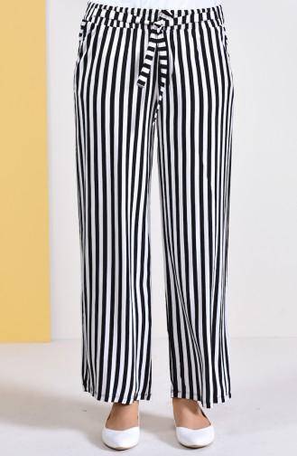 Çizgili Bol Paça Pantolon 0162G-01 Siyah