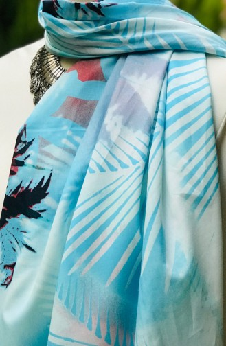 Patterned Cotton Shawl 60848-01 Baby Blue 60848-01