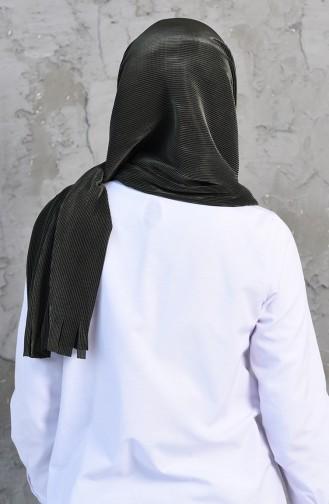 Pleated Practical Viscose Shawl 1033-03 Dark Khaki 1033-03