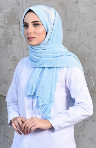 Pleated Practical Viscose Shawl 1033-05 Baby Blue 1033-05