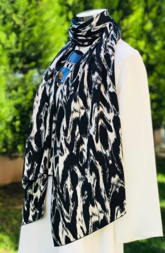 Patterned Cotton Satin Shawl 52172-01 Black 52172-01