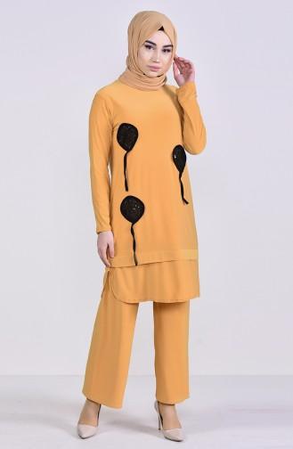 Payet Detaylı Tunik Pantolon İkili Takım 9026-01 Hardal 9026-01