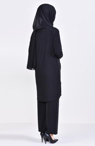 Payet Detaylı Tunik Pantolon İkili Takım 9026-06 Siyah 9026-06