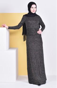 c774d05561f55 فستان سهرة يتميز بتفاصيل من الؤلؤ 8105-02 لون خمري واسود 8105-02