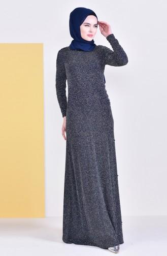 Gospel Silvery Evening Dress 31596-02 Navy 31596-02