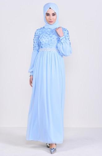 Floral Appliqued Evening Dress 81666-01 Baby Blue 81666-01