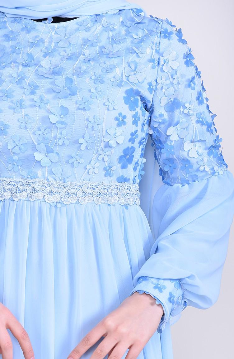 2b2cc983d3 Floral Appliqued Evening Dress 81666-01 Baby Blue 81666-01