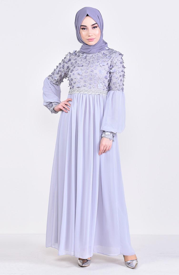 385f6f0782 Floral Appliqued Evening Dress 81666-04 Gray 81666-04