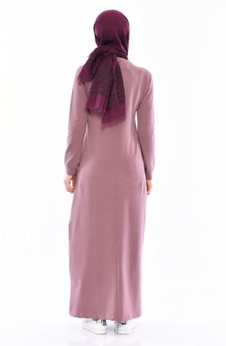 فستان رياضي بتفاصيل جيوب 9043-07 لون ترابي 9043-07