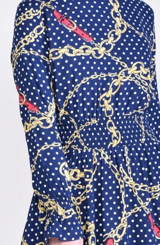 فستان بتصميم مُطبع 8146-01 لون كحلي 8146-01