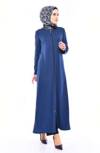 Zippered Abaya 3048-04 Indigo 3048-04