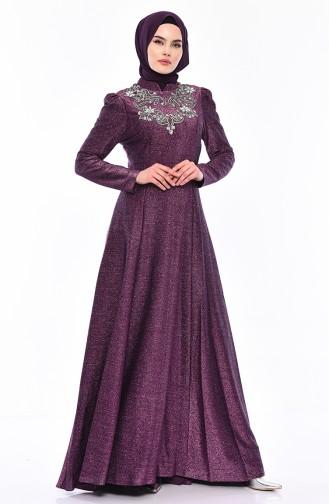 Taş Detaylı Simli Abiye Elbise 7057-02 Mor 7057-02