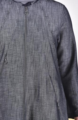 Büyük Beden Düğmeli Kot Pardesü 1145-01 Siyah