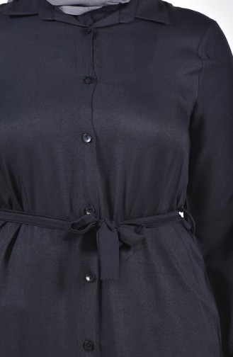 تونيك طويل بتصميم أزرار و بمقاسات كبيرة 1920-01 لون أسود 1920-01