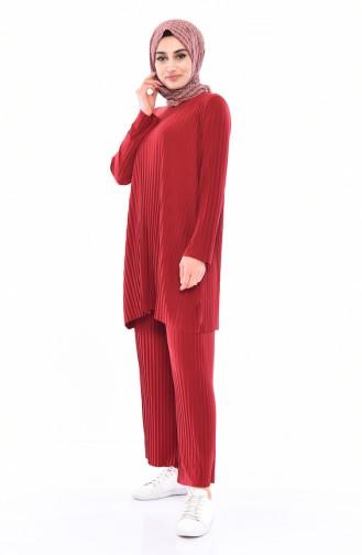 Piliseli Tunik Pantolon İkili Takım 5219-12 Açık Bordo