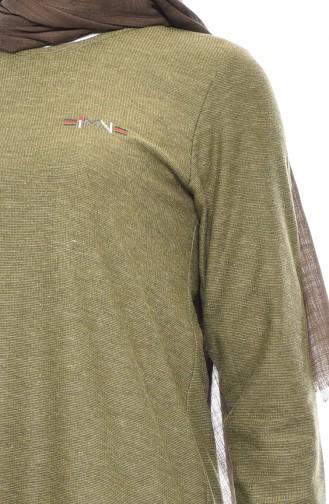 طقم بنطال و تونيك بتصميم غير متماثل الطول 99191-05 لون أخضر كاكي 99191-05