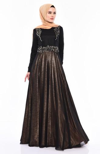 Stone Evening Dress 31568-03 Black Gold 31568-03